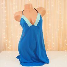 Victoria's Secret Colorblock Babydoll Slip Size Large Blue Green Strappy Back