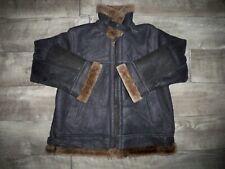 Vintage Women's Black Shearling Sheepskin Leather Bomber Jacket Coat Size Small