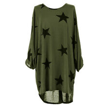 UK Womens Stars Printing Oversized T-Shirt Ladies Summer Tops Blouse Dress 6-22