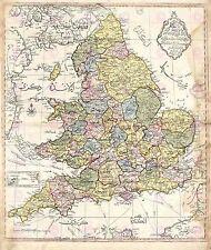 Mappa antica 1840 ottomano CARTOGRAFO Inghilterra GALLES GRANDE STAMPA POSTER lf1738