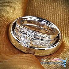 Diamond Wedding Trio Set His Hers Matching Band Engagement Ring 14k Gold Finish