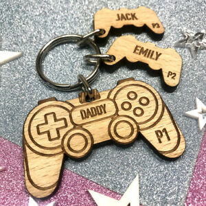 Personalised Birthday Gift Him Her Game Controller Keyring Playstation Gamer