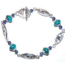 Green PEACOCK Jasper & Navy Blue LAPIS LAZULI Tibetan Silver Bead Bracelet