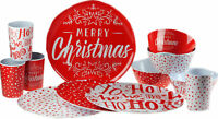 Red Merry Christmas 12 Piece Melamine Plastic Plate Cups Bowl Set