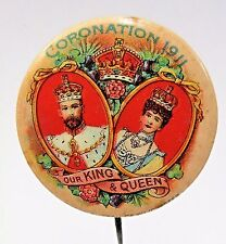 "rare 1911 CORONATION King George V 1.25"" celluloid pinback button"