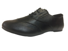 WOMENS GIRLS CASUAL SCHOOL BROGUE STYLE LACE UP SHOES BLACK WORK FORMAL UK 3-8