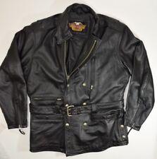 HARLEY DAVIDSON LEATHER Motorcycle Jacket Men's Black Size Large L Biker Coat