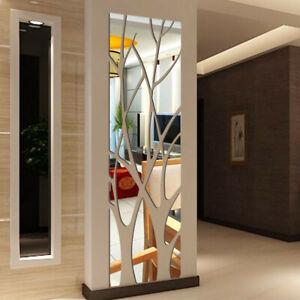 3D Mirror Wall Sticker Tile Square Self Adhesive Tree Decor Stick Removable Art
