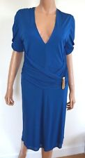 $1160 Authentic ROBERTO CAVALLI Blue Viscose Jersey Dress IT-46 US-10/12