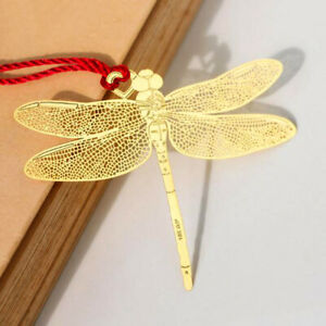 Retro Chinese Style Golden Hollow Dragonfly Metal Bookmark Kawaii Book C W^