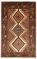 """Hand Knotted Tribal Red Terracotta Ivory Wool Nomadic Oriental Rug 2'6"""" x 4'1"""""""