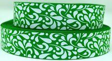"Grosgrain Ribbon 7/8"" &1.5"" Emerald & White Floral Swirls Pattern Printed."