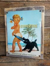 Coppertone Suntan Lotion Ad Reproduction Metal Sign Reclaimed Wood Frame