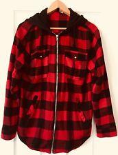 ❤️H&M H & M Lumberjack Red Black Checkered Hoodie Jacket Coat- Sz M US 4 UK 34❤️