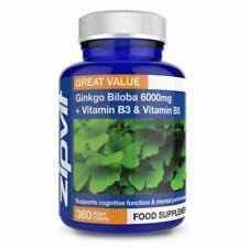 Zipvit Ginkgo Biloba 6000mg High Strength Standardised Leaf Extract 360 Tablets
