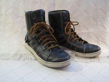 Men's Skechers High Top Black Leather Fold Down Sneakers Faux Fur Lined 13