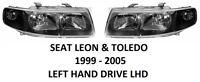 SEAT LEON I TOLEDO II FRONT HEADLAMPS HEAD LAMP LIGHT HEADLIGHTS 1999-2005 H7 H1