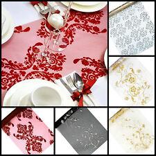 Tischläufer 9mx36cm Tischband organza Hochzeit Deko Weihnachten Muster Ornament