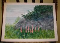 VINTAGE FOLK ART NATURE MINIMALIST NAIVE FOXGLOVE FLOWERS PRIMITIVE W/C PAINTING