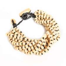 Handmade Wood Bead Thick Seed Bracelet Thai Women Costume Jewelry - Pale Brown