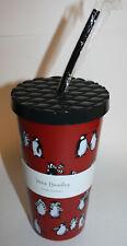 Vera Bradley Red Playful Penguins Travel Tumbler NWT 20 oz Flexible Straw