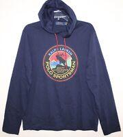 Polo Ralph Lauren Mens Navy Blue Polo Sportsman Hoodie L/S T-Shirt NWT Size S