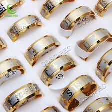 20pcs Lots Titanium Gold Plated I Love JESUS Stainless Steel Men Ring Jewelry