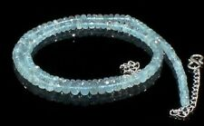 Natural Aquamarine Necklace Beads Faceted Women Gemstone Ct 77 Christmas Sale Us