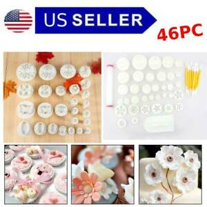 46PC Fondant  Sugarcraft Cake Decorating Plunger Cutters Mold Cookies Decorate