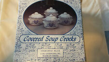 Vintage Covered Soup Crocks - New In Box - Blue Heart Pattern - Set Of 4