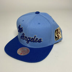 Mitchell & Ness Los Angeles Lakers Hardwood Classics Baby Blue Snapback Hat NEW