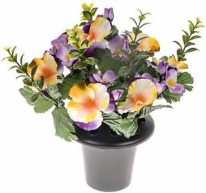Artificial Grave Crem Pot Memorial Pansy Flower Arrangement Yellow Lilac Pansies