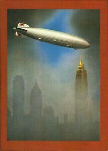 """Ansichtskarte -Zeppelin, """"Plakat zur Amerikafahrt"""" mit Stempel 1984"""