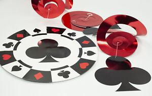 Casino Night Swirl Decorations (9) ~ Poker Game Room Birthday Party Supplies