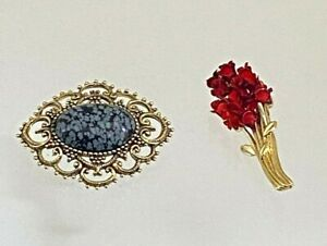 2 Gold Tone Brooches Black & Gray Center Stone Enamel Red Roses 1 Signed   #22