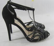 "new ladies Black Rhinestone 5""Stiletto High Heel Ankle Strap Sexy Shoes Size 8"