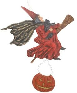 Bethany Lowe Halloween Flying Witch Wall Hanging—Retired