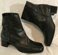 Next Black Ankle Leather Lovely Boots Size 6 (455Q)