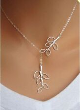 Fashion Womens Cross Chain Leaves Silver Plated Charm Necklace Pendant