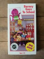 Barney Goes To School VHS Sing Along Dinosaur 1990 Original Cover Vintage HTF