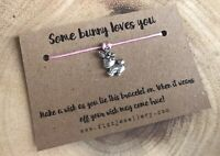 Some Bunny Loves You Silver Pink Rabbit Message Card Wish Bracelet Gift Easter