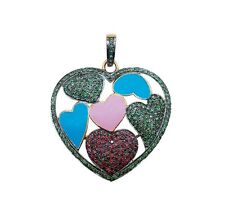 Ruby Heart Pendant, Emerald Gemstone Pendant 925 Sterling Silver Vintage Pendant