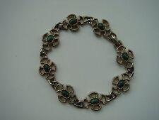 Braccialetto Antico Vintage Verde in Metallo Tono Bronzo pietre dal design classico molto vecchio