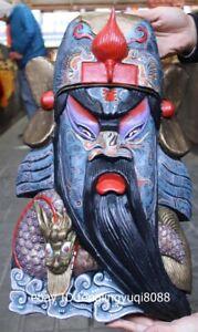 Wood Carved Hand-painted Dragon Guan Gong face facial makeup Mask Wall Hanging