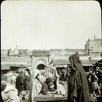 MAROC Tanger Le Marché Maghreb 1904, Photo Stereo Grande Plaque Verre VR9L5n11