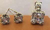 SILPADA W0975 S0979 Cubic Zirconia 'UPTOWN' Earrings & Pendent MINT!!!