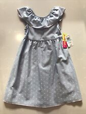 Penelope Mack Girls Dress Blue With Pink Polka Dots Size 5 New With Tags