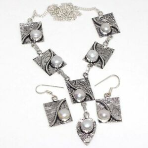 Pearl 925 Silver Plated Handmade Gemstone Necklace Earrings Set Ethnic Gift GW