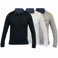 Mens Long Sleeved Jersey Top Brave Soul Polo T Shirt Plain Collared Neck Cotton