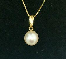 Blush White Salt Water Pearl  Drop Necklace 14k Gold
